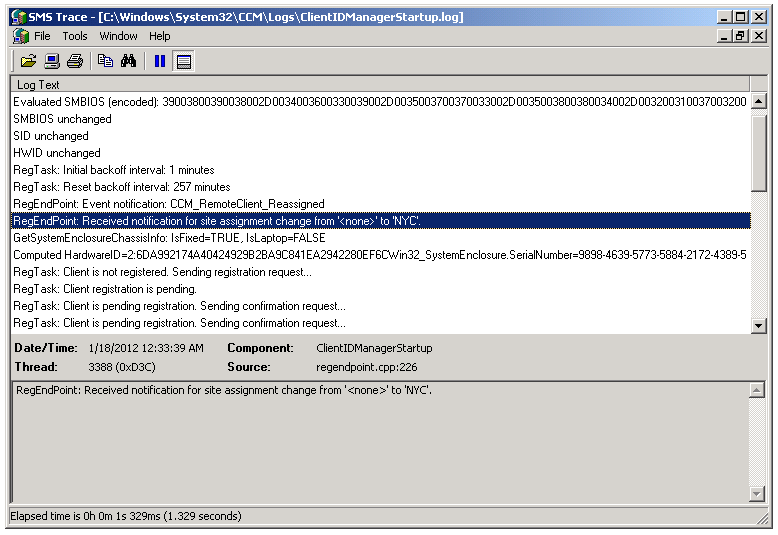 SCCM: how to review log files on the client on AD published