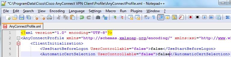 AutomaticCertSelection Cisco AnyConnect Profile