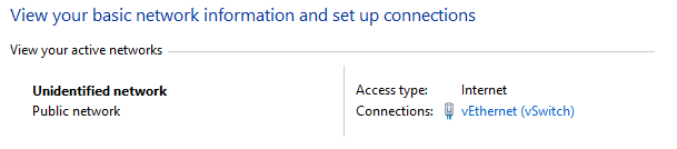 Public network - Hyper-V switch