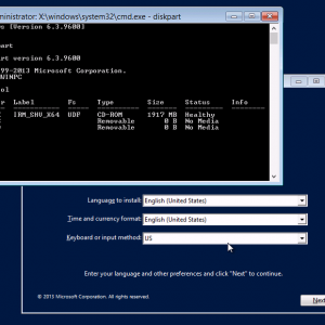 Diskpart within Windows Setup Hyper-V