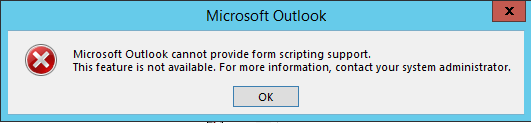 Microsoft Outlook scripting support error