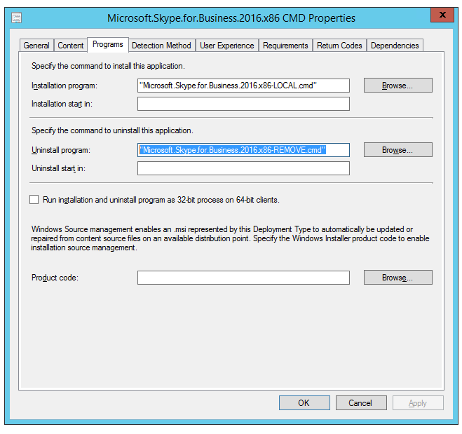 SCCM: How to uninstall/remove Skype for Business 2016 client