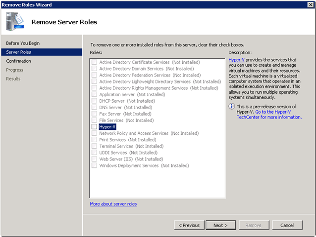 Hyper-V RC0 Upgrade KB949219 | Networknet nl