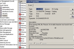 IIS Config Errors and Event ID 4275 Exchange 2003