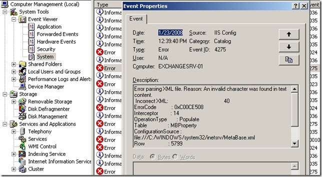 IIS Config Errors and EventID 4275 Exchange 2003 Cluster | Networknet nl