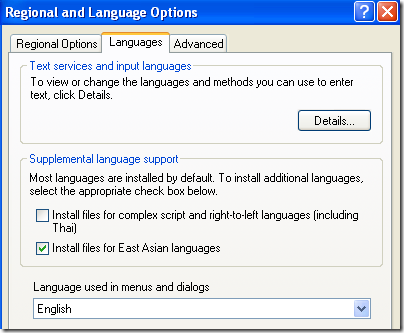 Language options support xp asian east windows installing