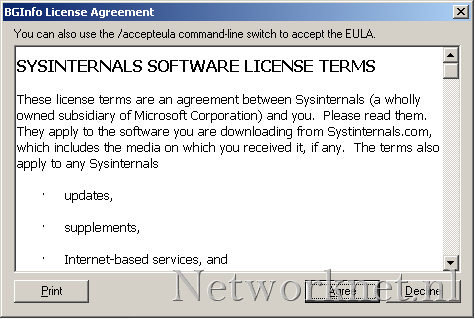 Tools: BGInfo silent run and no license agreement | Networknet nl